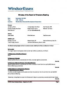 Minutes of the Board of Directors Meeting