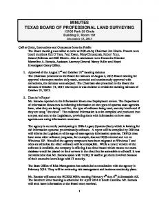 MINUTES TEXAS BOARD OF PROFESSIONAL LAND SURVEYING