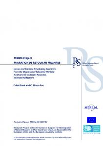 mirem analytical report 2007/02 -losses and gains to ... - Cadmus