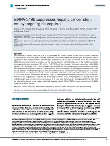 miRNA-148b suppresses hepatic cancer stem cell by ... - CiteSeerX