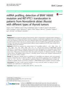 miRNA profiling, detection of BRAF V600E mutation ... - Springer Link
