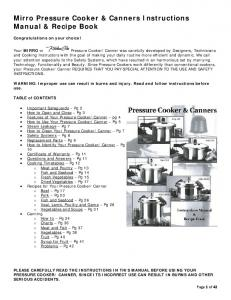 Mirro Pressure Cooker & Canners Instructions Manual & Recipe Book