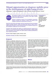Missed opportunities to diagnose syphilis prior to the development of ...