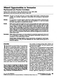 Missed Opportunities to Immunize - American Journal of Preventive ...