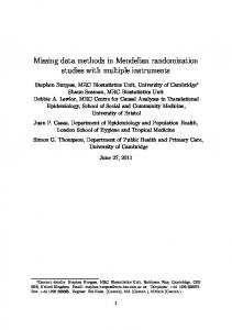 Missing data methods in Mendelian randomization