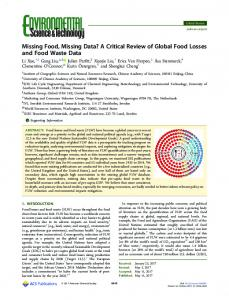 Missing Food, Missing Data? A Critical Review of ... - ACS Publications
