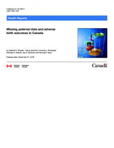 Missing paternal data and adverse birth outcomes in Canada - StatCan