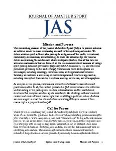 Mission and Purpose Call for Papers - Journals@KU