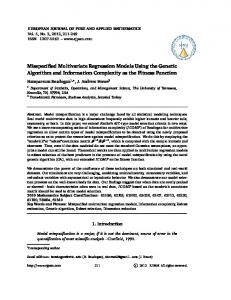 Misspecified Multivariate Regression Models Using the Genetic ...