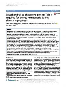 Mitochondrial co-chaperone protein Tid1 is required for energy ... - Core