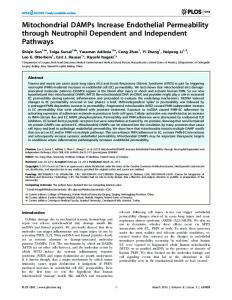 Mitochondrial DAMPs Increase Endothelial Permeability ... - CiteSeerX