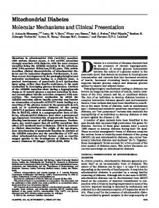 Mitochondrial Diabetes Molecular Mechanisms and Clinical ...