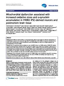 Mitochondrial dysfunction associated with increased oxidative stress ...