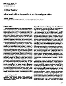 Mitochondrial Involvement in Acute ... - Wiley Online Library