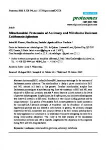 Mitochondrial Proteomics of Antimony and ... - Semantic Scholar