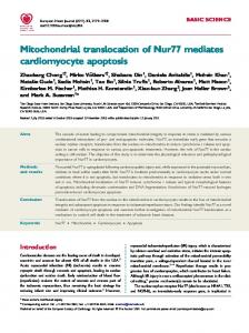 Mitochondrial translocation of Nur77 mediates ... - Semantic Scholar