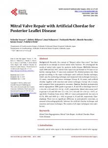 Mitral Valve Repair with Artificial Chordae for Posterior Leaflet Disease