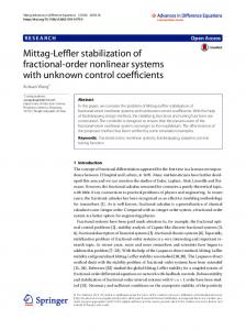 Mittag-Leffler stabilization of fractional-order nonlinear systems with ...