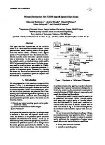 Mixed Excitation for HMM-based Speech Synthesis - Semantic Scholar