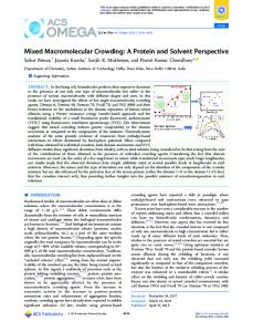 Mixed Macromolecular Crowding: A Protein and ... - ACS Publications