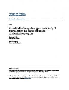 Mixed method research designs - ePublications@SCU - Southern ...
