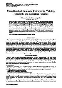 Mixed Method Research: Instruments, Validity, Reliability and