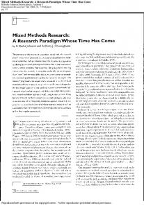 Mixed Methods Research: A Research Paradigm ...