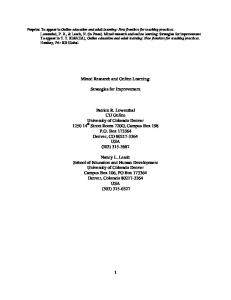 Mixed Research and Online Learning: Strategies ... - patrick r. lowenthal