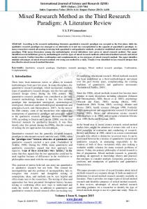 Mixed Research Method as the Third Research Paradigm: A Literature ...
