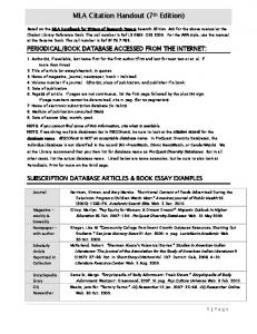 MLA Citation Handout (7th Edition)
