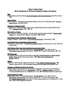 MLA Citation Style MLA Handbook for Writers of Research Papers ...