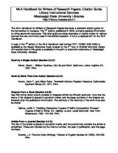 MLA Handbook for Writers of Research Papers: Citation Guide ...
