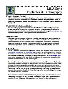 MLA Style Footnotes & Bibliography - University of Toledo