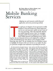 Mobile Banking Services - CiteSeerX