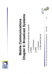 Mobile Communications Chapter 6: Broadcast Systems