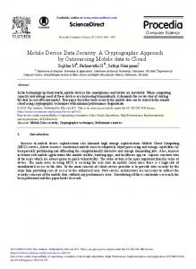 Mobile Device Data Security: A Cryptographic ...
