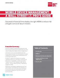 Mobile Device ManageMent:.. a Wall Street i.t. Pro'S guiDe..