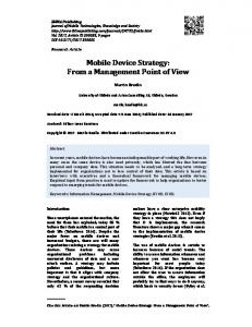 Mobile Device Strategy: From a Management Point ... - IBIMA Publishing