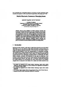 Mobile Electronic Commerce: Emerging Issues