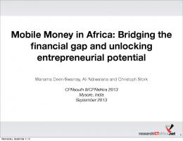 Mobile Money in Africa - CPRsouth