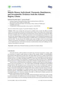Mobile Money, Individuals' Payments, Remittances, and ... - MDPI