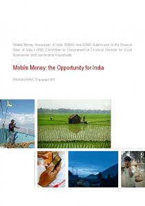 Mobile Money: the Opportunity for India - GSMA