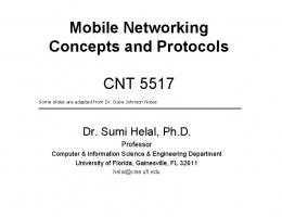 Mobile Networking Concepts and Protocols - UF CISE