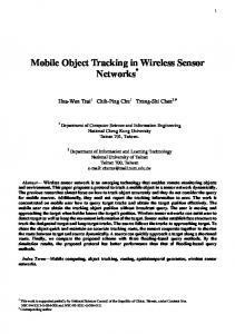 Mobile Object Tracking in Wireless Sensor Networks