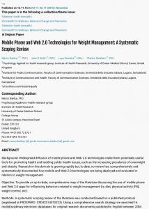Mobile Phone and Web 2.0 Technologies for Weight Management: A