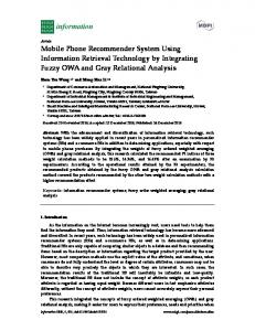 Mobile Phone Recommender System Using