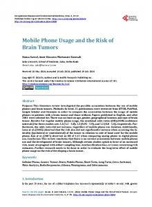 Mobile Phone Usage and the Risk of Brain Tumors - Scientific ...