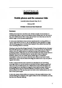 Mobile phones and the consumer kids - CiteSeerX