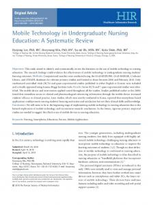 Mobile Technology in Undergraduate Nursing Education - Healthcare