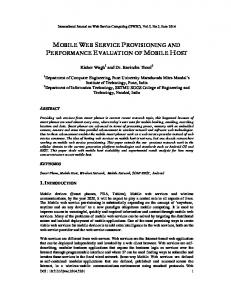mobile web service provisioning and performance evaluation - AIRCC ...